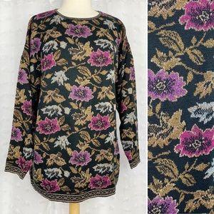 Vintage 80s 90s dark floral metallic sweater XL